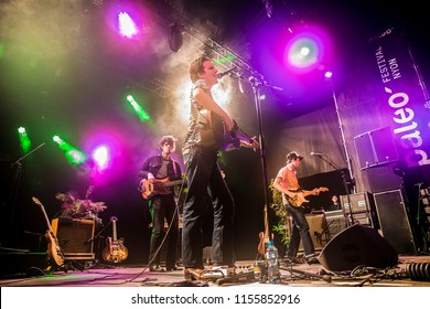 Nyon, Switzerland - 20 July 2018: concert of French blues soul rock and roll band Theo Lawrence & the Hearts at Paleo Festival