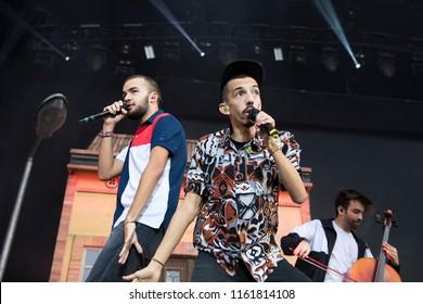 Nyon, Switzerland - 21 July 2018: concert of French Rap band BigFlo & Oli at Paleo Festival