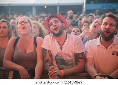 Nyon, Switzerland - 21 July 2018: ypung people in the audience cheering and singing along during concert of French rock band Feu Chatterton! at Paleo Festival