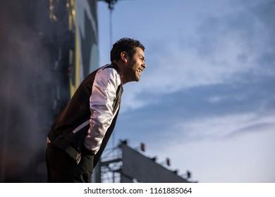 Nyon, Switzerland - 21 July 2018: Show od French stad up comedian Jamel Debbouze at Paleo Festival