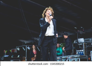 Nyon, Switzerland - 28 July 2019 :  concert of British-French singer Jane Birkin, she is singing accompanied by an orchestra the songs of her former partner Serge Gainsbourg as an hommage