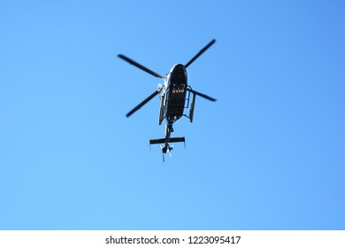NYPD Helicopter Providing Security During the New York City Marathon at 44th Drive and 10th Street in Long Island City, Queens, New York, USA on November 4th, 2018