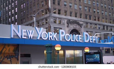 NYPD New York Police Department at Times Square - NEW YORK / USA - DECEMBER 4, 2018