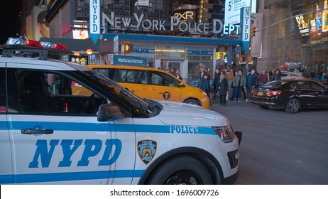 NYPD New York Police at Times Square Manhattan - NEW YORK CITY, UNITED STATES - APRIL 2, 2017