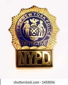 nypd police detective badge close up on white background
