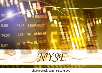 NYSE - Abstract digital information to represent Business&Financial as concept. The word NYSE is a part of stock market vocabulary in stock photo