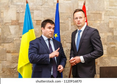 Nyzhne Solotvyno, Ukraine - June 22, 2018: The Ministers of Foreign Affairs of Ukraine Pavlo Klimkin (L) and Hungary's Peter Szijjarto (R) talk during the meeting.