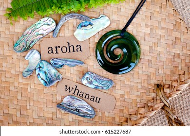 NZ - Kiwi - Maori theme - backgrounds and objects - maori words for love and respect (aroha) and family (whanau)