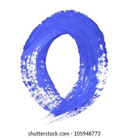 O - Blue handwritten letters over white background