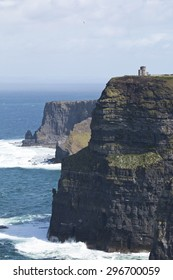 O' Briens Tower looks out over Cliffs of Moher, County Clare, Ireland