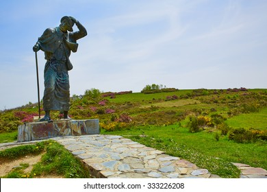 O Cebreiro Alto San roque top in the way of Saint James in Galicia Spain