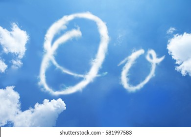 O clouds font calligraphy style ,hand written on sky background.