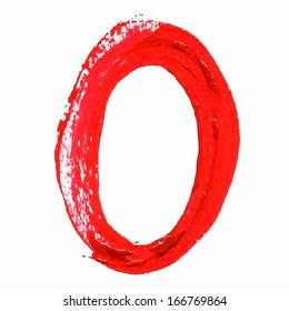 O - Red handwritten letters on white background. Acrylic colors.