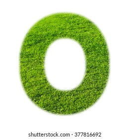 """""""O"""" uppercase alphabet made of grass texture, isolated on white background"""