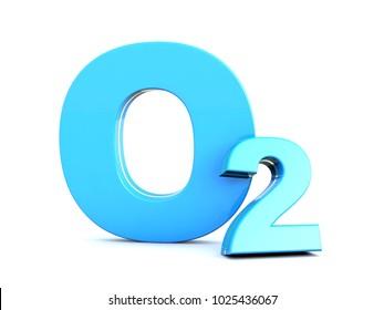 O2 - Blue Oxygen molecule symbol on white background 3D render