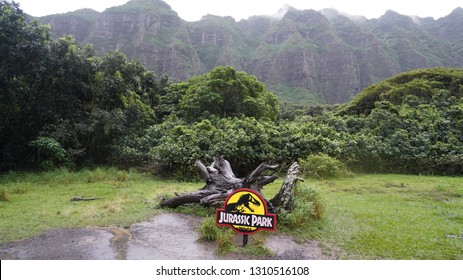Oahu, Hawaii - December 28, 2019. The movie set where Jurassic Park the movie was filmed in Kualoa Ranch. This is a popular tourist destination known for its movie tours.