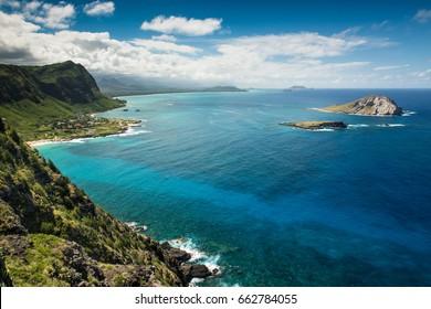 Oahu, Hawaii east shoreline towards Waimanalo Beach