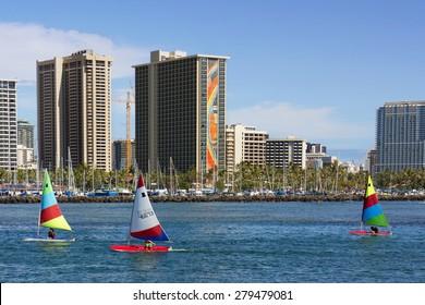 OAHU, HAWAII - FEB 20 -The Rainbow Tower at the Hawaiian Hilton Village on Waikiki beach on February 20, 2015. The Hawaiian Hilton Village is very popular with families traveling to Hawaii.