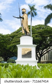 Oahu Hawaii June 2012: kamehameha statue is an important symbol of the ancient history of these islands. The statue is located in front of the Supreme Court of the islands.