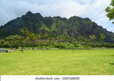 Oahu, Hawaii, Kualoa Park, Beautiful place,   Hawaiian mountains, slopes washed with rain streams