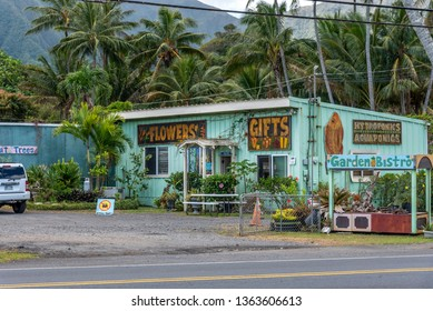 Oahu, Hawaii - March 28, 2019: Flower and gift shop in rural Oahu. There are many quaint rural stores on the more rural parts of the island.