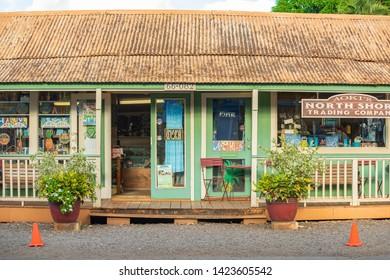 Oahu, Hawaii, USA 10/06/2016.  Aoki's Trading Company in haleiwa, North Shore