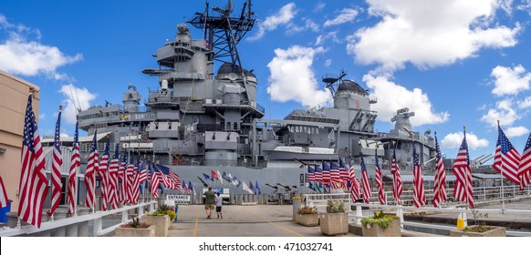 OAHU, HI - AUG 5, 2016: The USS Missouri battleship on August 5, 2016 in Pearl Harbor, USA. Site of the treaty signing ending WWII between the US and Japan, is now berthed in Pearl Harbor.