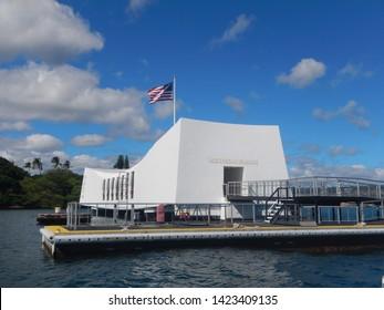 OAHU, HI - NOV 11, 2017: World War II Valor in the Pacific. USS Arizona Memorial.