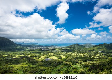 Oahu from the Pali Lookout, Hawaii