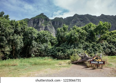 OAHU, UNITED STATES OF AMERICA - OCTOBER 3rd: Kualoa ranch, Jurassic Park scenario on OCTOBER, 2017 in HAWAII, UNITED STATES OF AMERICA