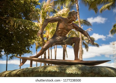 Oahu, USA - March 20, 2017:  Surf statue on Queen's Beach area of downtown Waikiki Honolulu, Oahu, Hawaii, USA