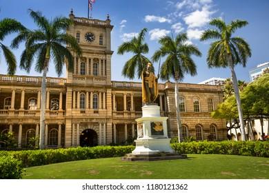 Oahu, USA - March 25, 2017:  King Kamehameha statue in front of Aliiolani Hale (Hawaii State Supreme Court), Honolulu, Oahu, Hawaii, USA