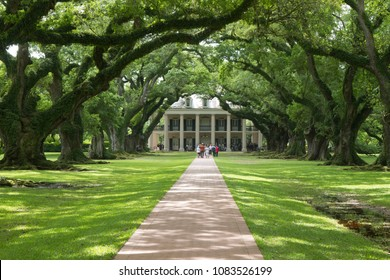 Oak Alley Plantation, Vacherie, St. James Parish, Louisiana, United States - March 30, 2018: Color landscape photo with canopy of oak trees leading to house and people on path and on balcony of house.