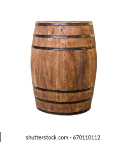 Oak barrel brown with metal hoops on a white isolated background
