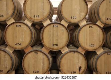 The oak barrels of brandy in winery, Yerevan, Armenia