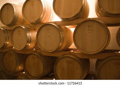oak barrels in the old wine cellar used for wine storage