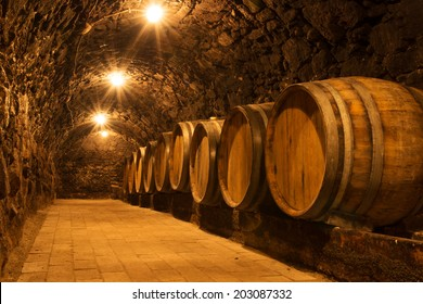 Oak barrels in the tunnel of old Tokaj winery cellar
