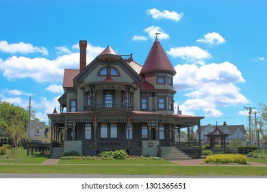 Oak Bluffs, MA / USA - May 23, 2018: Corbin-Norton House at Ocean Park