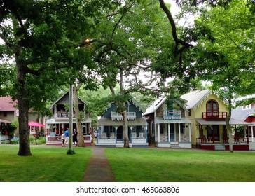 OAK BLUFFS, MASSACHUSETTS - JULY 5 2014: Gingerbread cottages in Martha's Vineyard