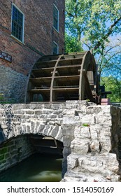 Oak Brook, Illinois / USA - September 14 2019: Water Powered Grist Mill at the Graue Mill and Museum