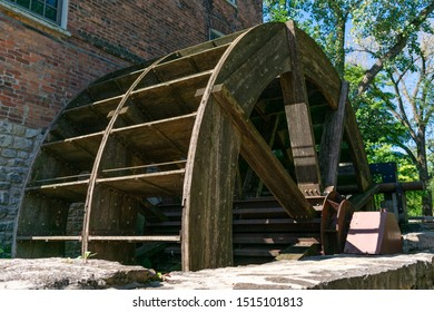 Oak Brook, Illinois / USA - September 14 2019: Water Powered Grist Mill Outside the Graue Mill and Museum