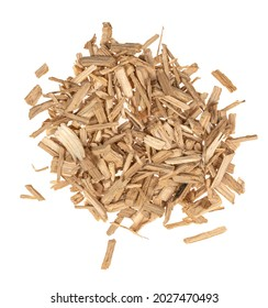 Oak chips sawdust isolated white background. small wood chips for smoking. sawdust texture . ecological fuel