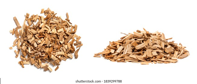 Oak chips for smoking meat and fish isolated on white background. Piles of wood chips from oak front and top view