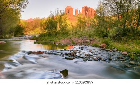 Oak Creek cascades past Cathedral Rock at Red Rock Crossing and vortex, in the Coconino National Forest, near Crescent Moon Ranch and Sedona, Arizona.