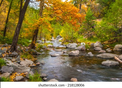 Oak creek meanders through the colored basin