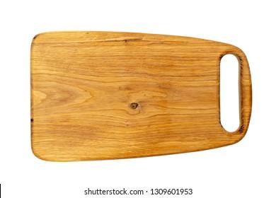 Oak cutting board on a white background.