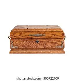 Oak jewelry box on white background.