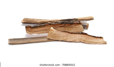 oak, logs fire wood isolated on white background with clipping path