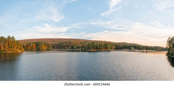 Oak Mountain state park near Birmingham Alabama with blue sky and reflections on the lake