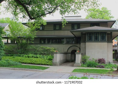 Oak Park, Illinois - 05/16/2015: Frank Thomas Residence. Built 1901. Architect Frank Lloyd Wright.